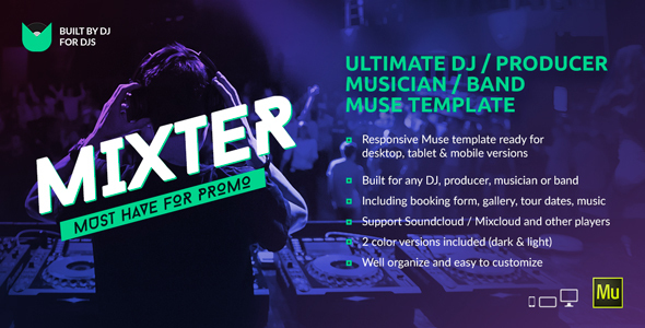Mixter Ultimate DJ Producer Musician Band Website Muse - Dj business cards templates free