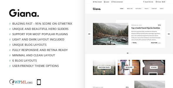 Giana - Minimal and Clean WordPress Blog Theme by maarcin | ThemeForest