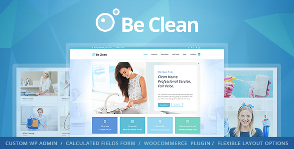Be Clean - Cleaning Company, Maid Service & Laundry WordPress Theme ...