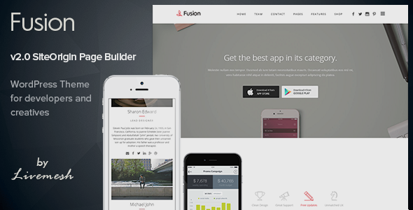 Fusion - Mobile App Landing WordPress Theme by LiveMesh | ThemeForest