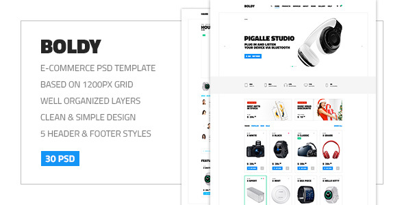 Boldy — Multipurpose Clean and Simple eCommerce PSD Theme by torbara
