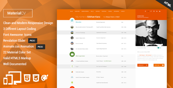 Material cv personal cv html template by gokhankara themeforest material cv personal cv html template personal site templates yelopaper Choice Image