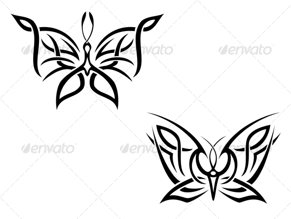 Butterfly tattoo isolated on white. DESIGN ELEMENTS
