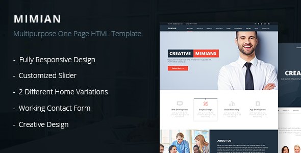 Mimian Multipurpose One Page Html Template By Crazycafe Themeforest
