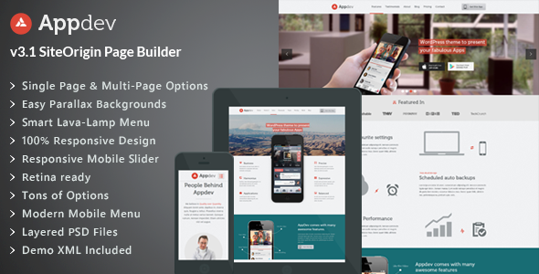 Appdev - Mobile App Showcase WordPress Theme by LiveMesh | ThemeForest