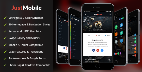 Just Mobile Mobile Template By Enabled ThemeForest - Phonegap templates