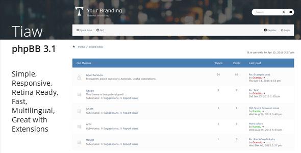 Tiaw classic responsive phpbb 31 theme by gramziu themeforest tiaw classic responsive phpbb 31 theme phpbb forums maxwellsz