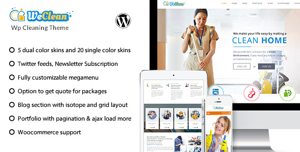 We Clean - Cleaning Business WordPress Theme by designthemes ...