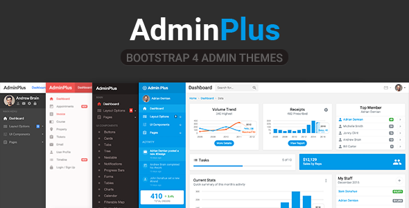adminplus premium bootstrap 4 admin dashboard by frontendmatter
