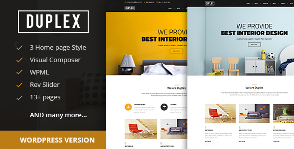duplex interior and architecture design wordpress theme business corporate - Interior Design Pages
