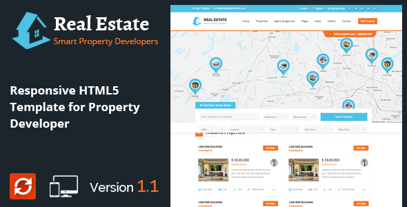 real estate responsive html5 template for property developers by