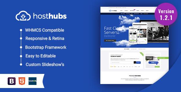 HostHubs | Responsive WHMCS Web Hosting, Domain, Technology Site ...