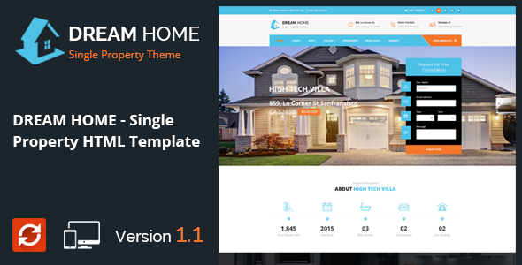 Dream home single property real estate html template by for Dream house website
