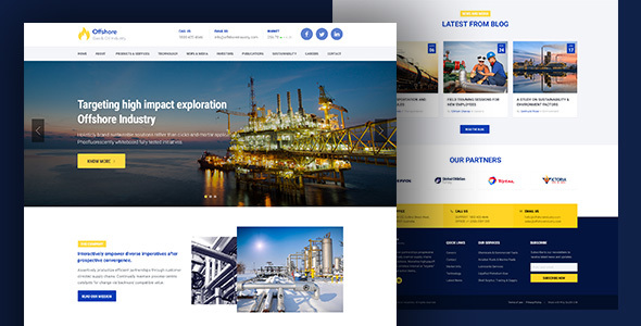 Industrial Website Template Responsive HTML5 — Offshore by surjithctly