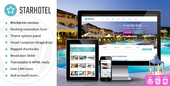 Starhotel - Hotel WordPress Theme by Slashdown | ThemeForest