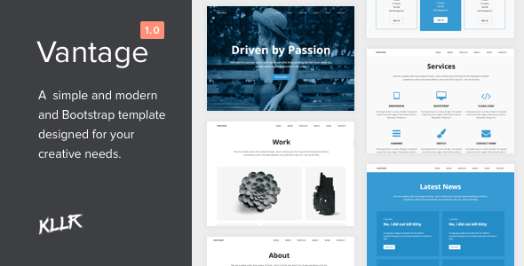vantage a simple single page bootstrap template site templates