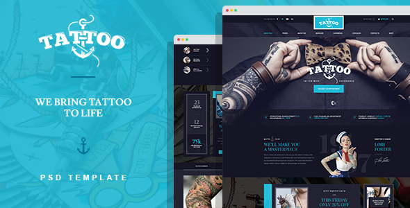 ink arts tattoo salon psd template by mwtemplates themeforest. Black Bedroom Furniture Sets. Home Design Ideas