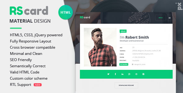 Material CV Resume vCard by PXlab ThemeForest