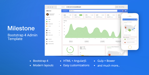 Milestone - Bootstrap 4 Dashboard Template by iamnyasha | ThemeForest