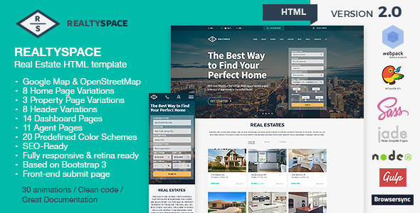 Realtyspace V Real Estate HTML Template Dashboard Included - Website front page template