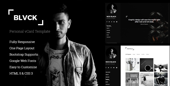 Blvck   Personal VCard U0026 Resume Template   Virtual Business Card Personal