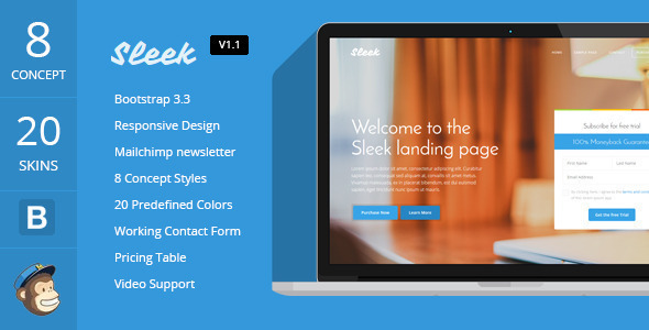 Sleek with Mobirise Responsive Bootstrap Landing Page Builder by ...