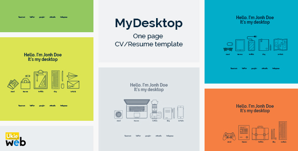 MyDesktop U2013 One Page Personal CV/Resume Template By UkieWeb | ThemeForest  Personal Resume Template