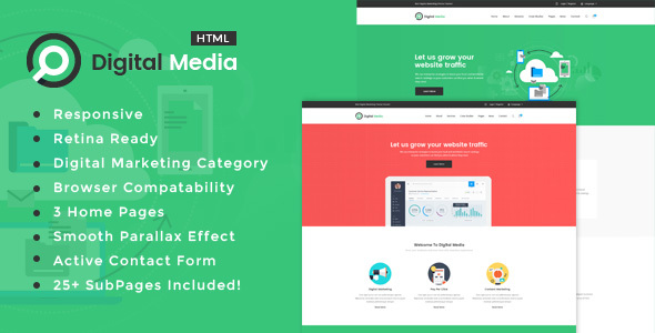 Digital Media Digital Marketing HTML Template By Templatepath - Digital portfolio template