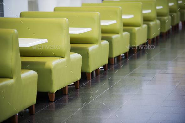 Interior Of Restaurant Zone Food Court With Green Sofas And Tables In A  Shopping Mall Stock Photo By Romankosolapov