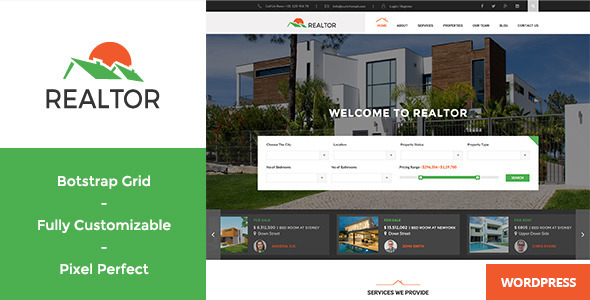 Realtor - Responsive Real Estate WordPress Theme by WPmines ...