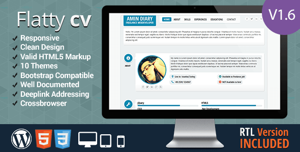 Flatty cv responsive resume template by leamino themeforest flatty cv responsive resume template resume cv specialty pages yelopaper Images