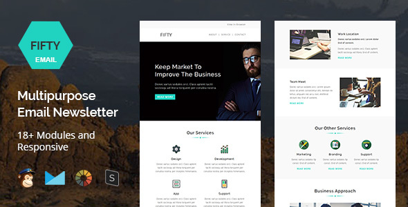 Fifty  Multipurpose Email Newsletter Template By Targettemplates