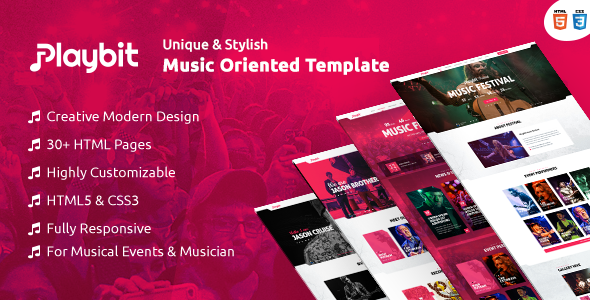 Playbit - Bootstrap Music Template by ThemeRegion   ThemeForest