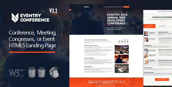 Eventry - Conference & Event HTML5 Landing Page Template by DSAThemes
