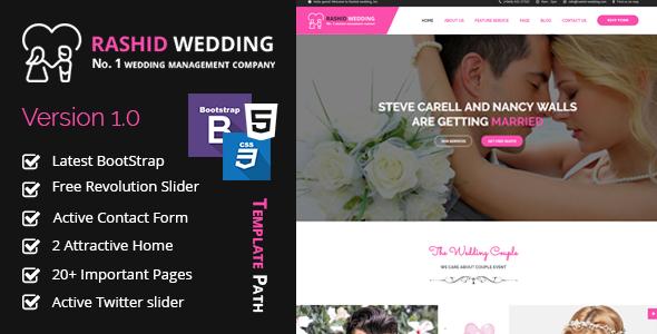 rashid wedding wedding and wedding event planner html template by