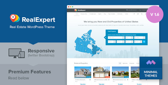 Real Expert - Responsive Real Estate and Property Listing WP Theme ...