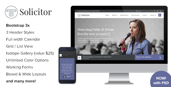 Solicitor - Law Business Responsive HTML5 Template by imithemes ...
