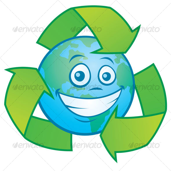 Cartoon Pictures Of The Earth. Earth Cartoon With Recycle