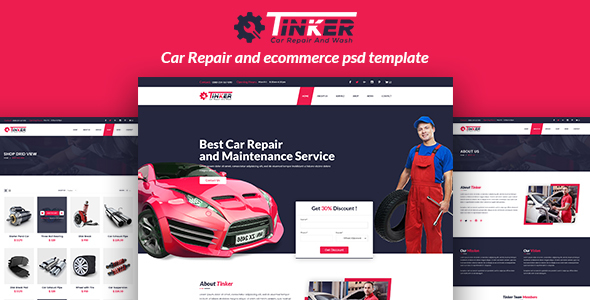 tinker car repair and ecommerce psd by devitems. Black Bedroom Furniture Sets. Home Design Ideas