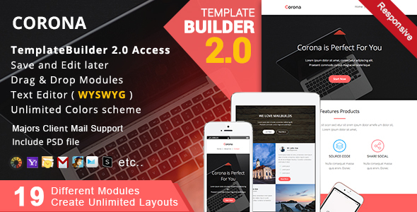 Corona Responsive Email MailBuild Online By Akedodee ThemeForest - Create html email template online