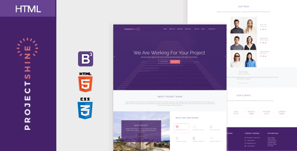 Project shine bootstrap responsive onepage html template by adamthemes project shine bootstrap responsive onepage html template creative site templates maxwellsz
