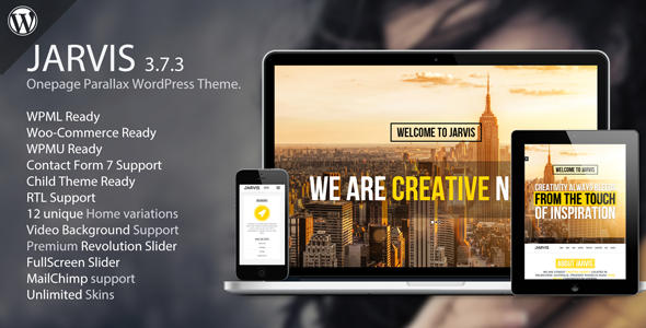 jarvis onepage parallax wordpress theme by rocknrolladesigns
