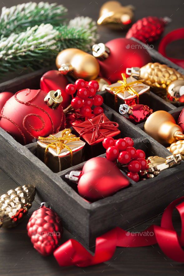 christmas gift and decoration in wooden box stock photo by duskbabe - Wooden Box Christmas Decorations