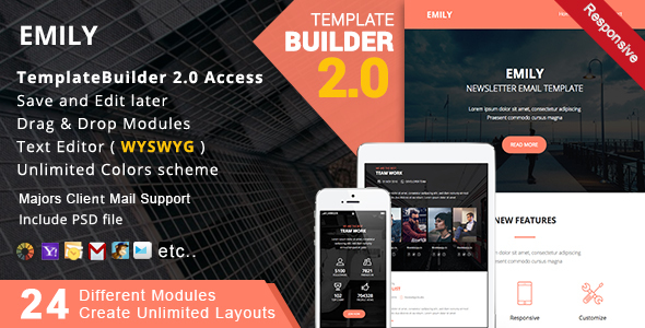 Emily - Responsive Email + MailBuild Online by akedodee | ThemeForest