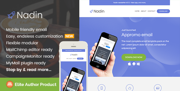 Nadin App Promo Email Template Builder Access By Saputrad - Mailchimp email templates download