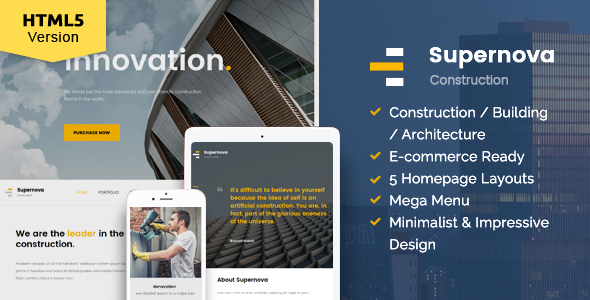 Supernova construction website template by kopasoft themeforest supernova construction website template corporate site templates solutioingenieria Images
