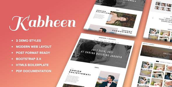 Kabheen modern wedding web template by mattsapii themeforest kabheen modern wedding web template wedding site templates maxwellsz
