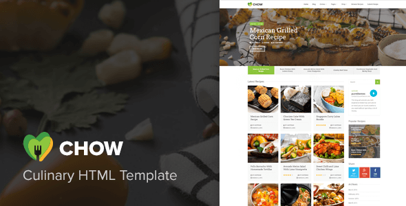 Chow recipes food blog html template by vasterad themeforest forumfinder Choice Image