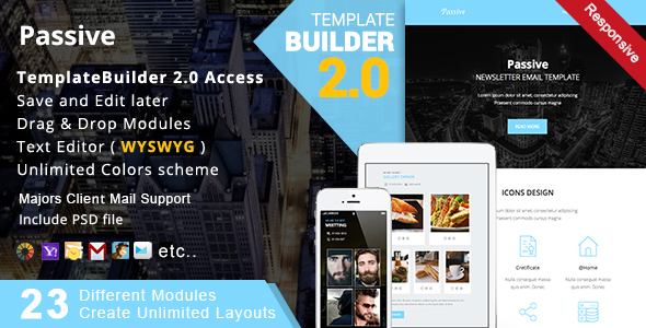 Passive - Responsive Email + MailBuild Online by akedodee | ThemeForest