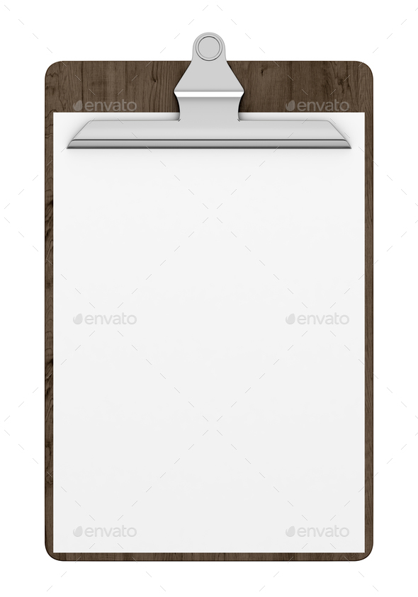 wooden clipboard with blank paper isolated on white background 3d